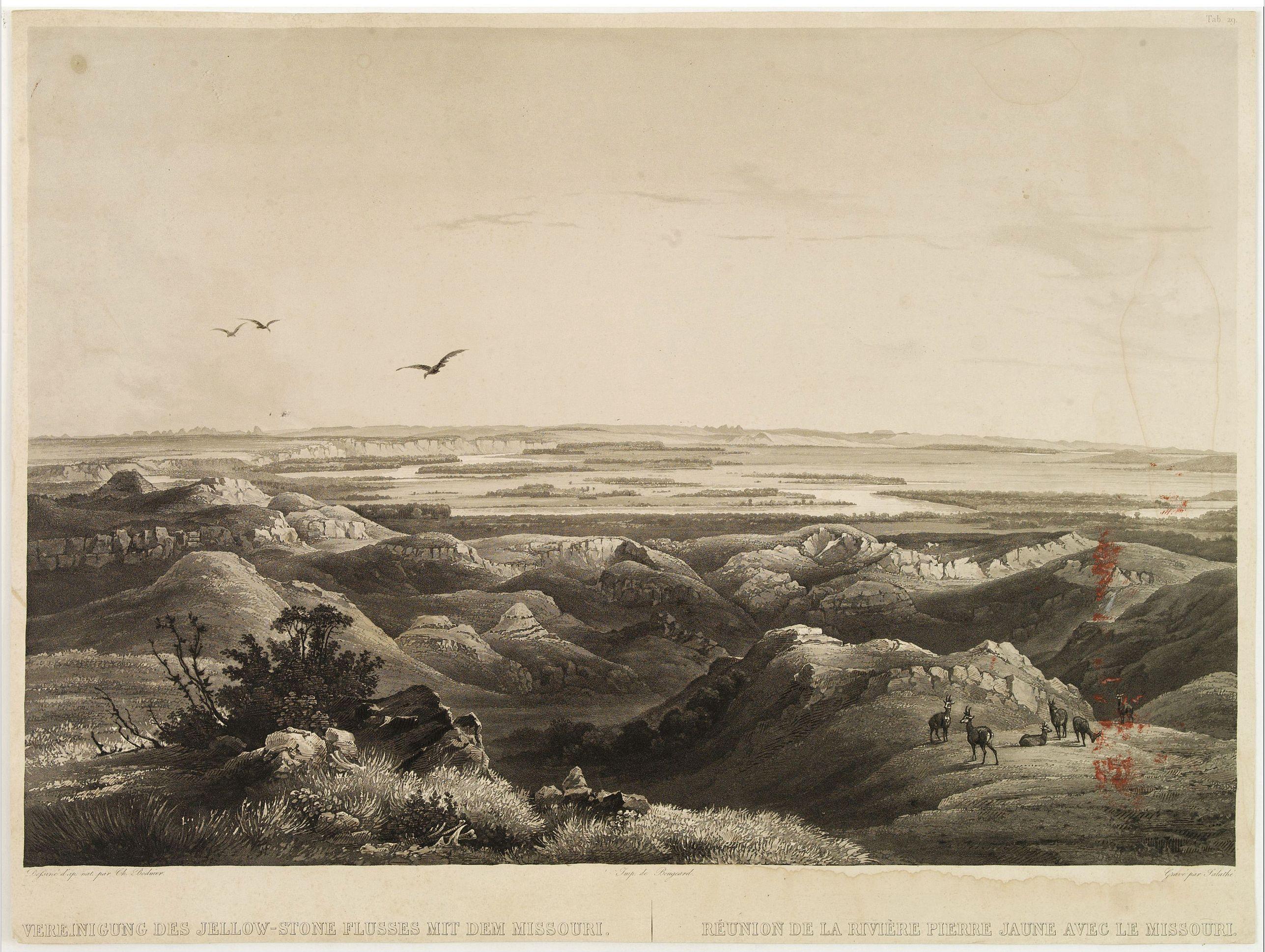 BODMER, Karl -  Réunion de la riviere Pierre Jaune avec le Missouri.