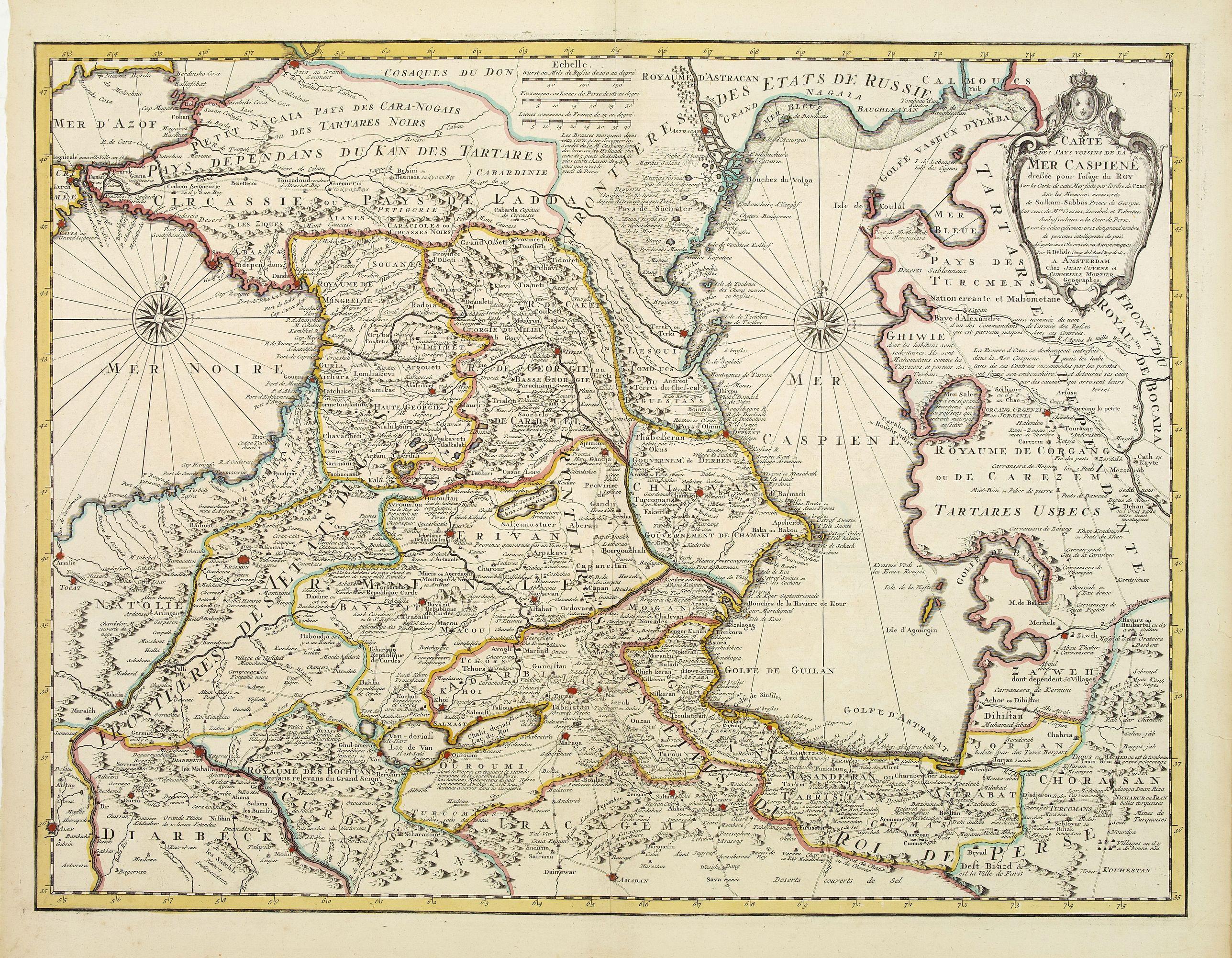 COVENS, J. / MORTIER, C. -  Carte des Pays voisins de la Mer Caspiene. . .