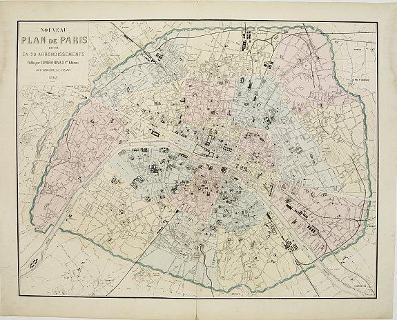 Napoléon Chaix Nouveau Plan De Paris Divisé En 20