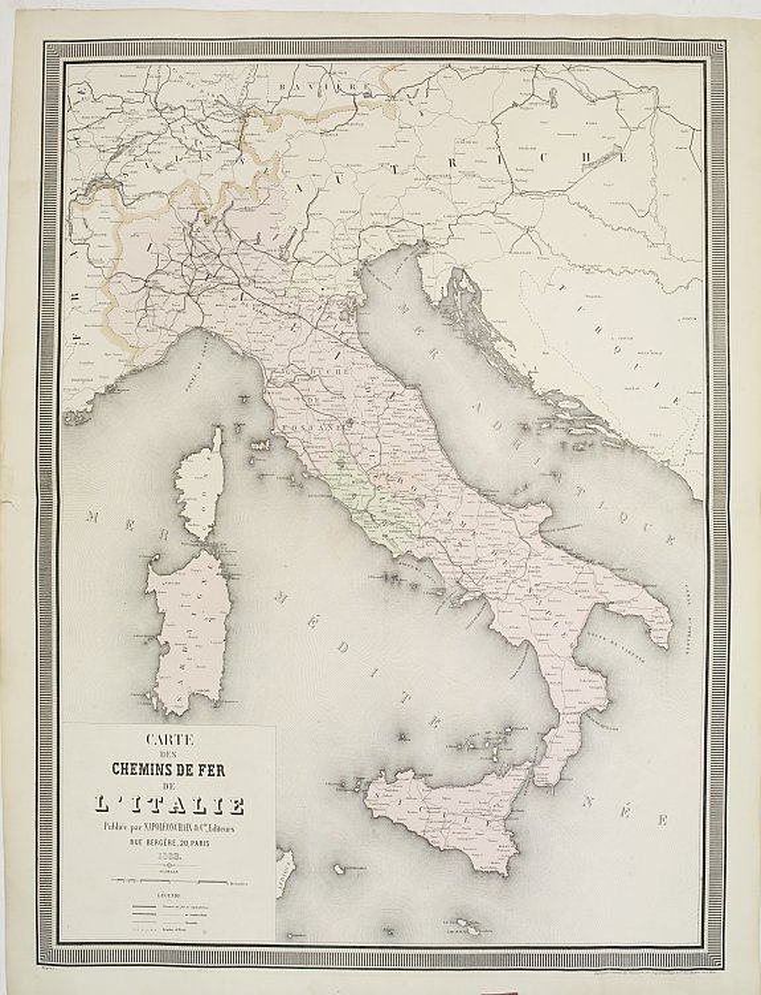 NAPOLÉON CHAIX. -  Carte des chemins de fer de l'Italie.