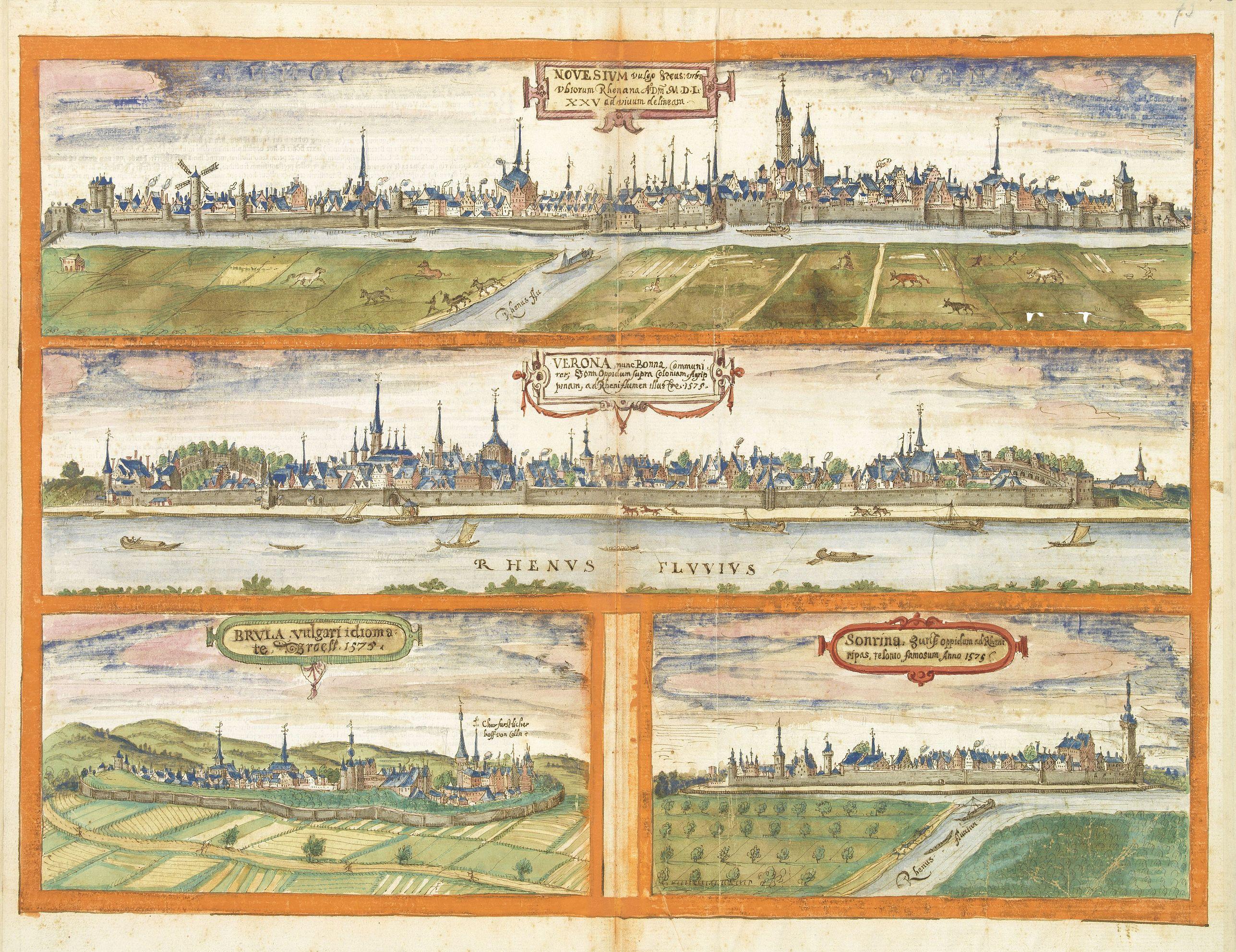 After BRAUN, G. / HOGENBERG, F. -  Novesium vulgo Neus - Verona nunc Bonn - Brula - Sontina, Zunsz Oppidum. . .