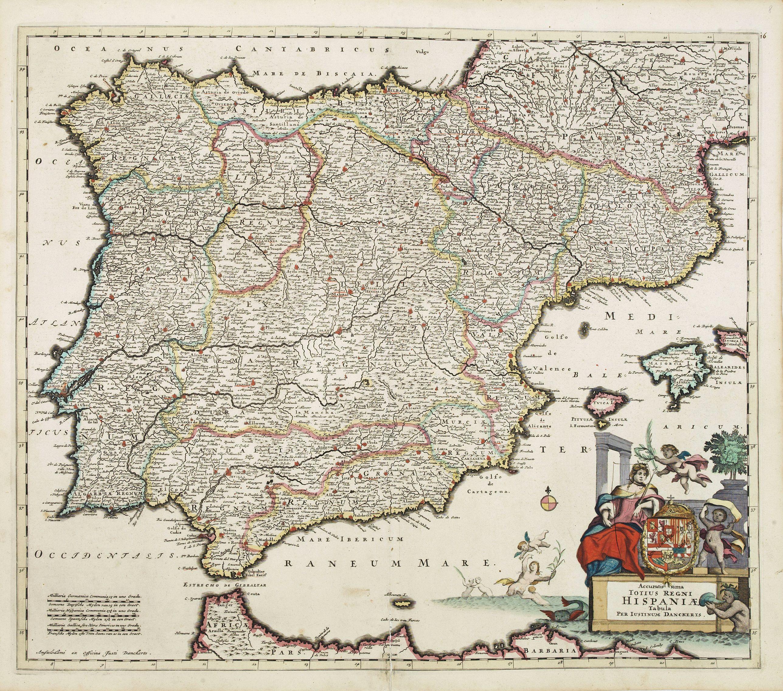 DANCKERTS, J. -  Accuratissima Totius Regni Hispaniae tabula..