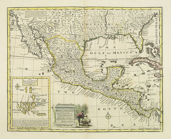 BOWEN, E.,  A new and accurate map of Mexico or New Spain with California New Mexico . . ., antique map, old maps