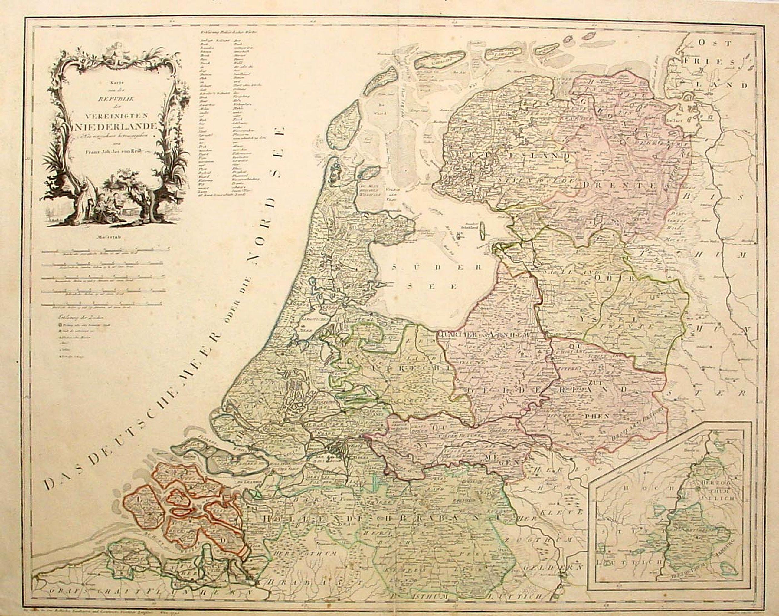 VON REILLY, F.J.J. -  Karte von der Republik der Verenigten Niederlande..