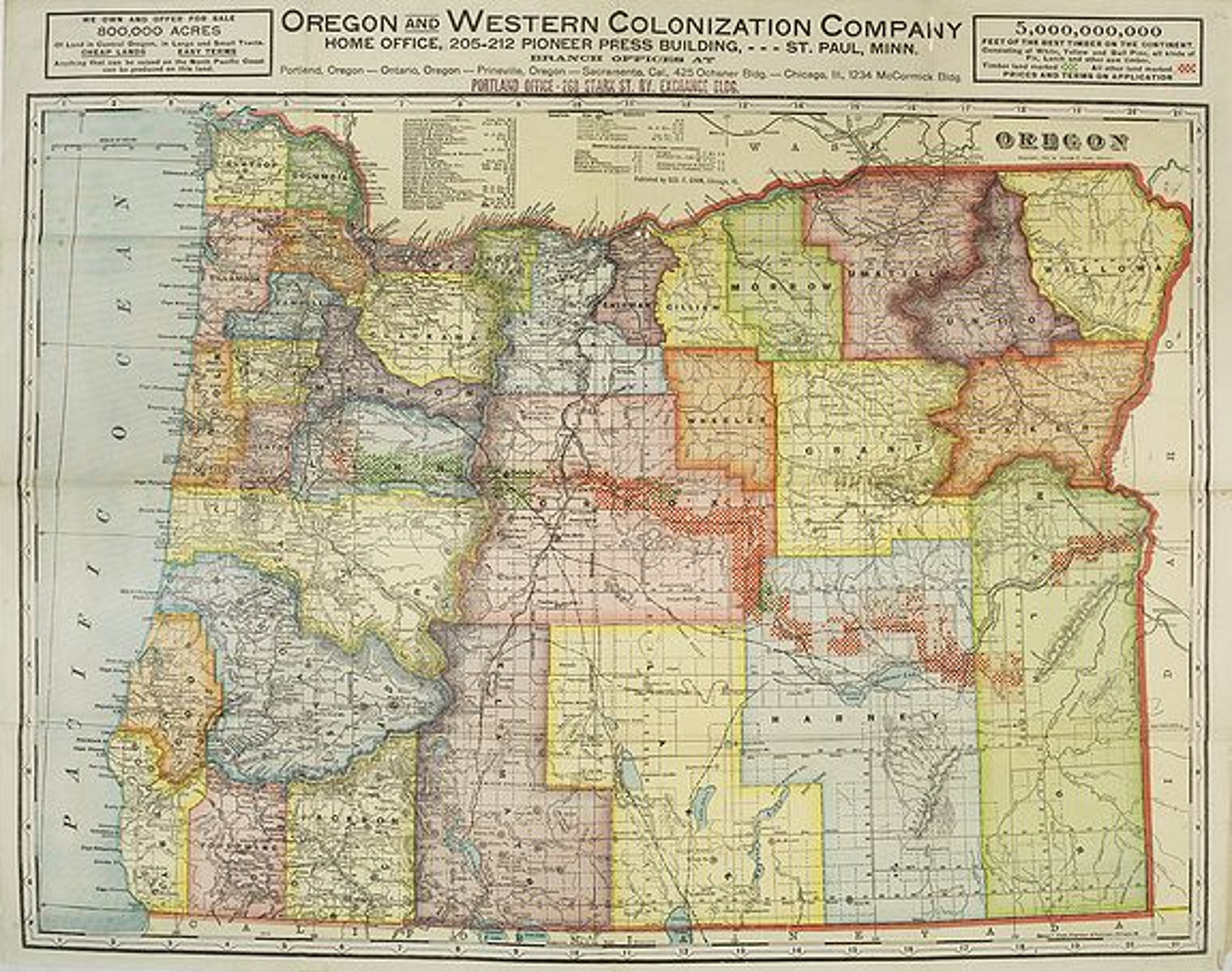 CRAM - Oregon and Western Colonization Company map of Oregon.