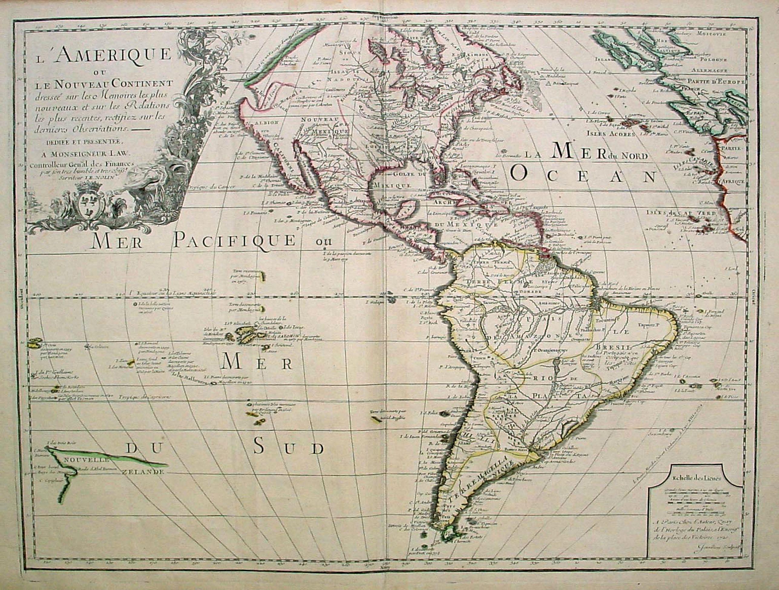 NOLIN,  J.B. -  L'Amerique ou le Nouvelle Continent.. Dedieé et presenteé a monseigneur Law.
