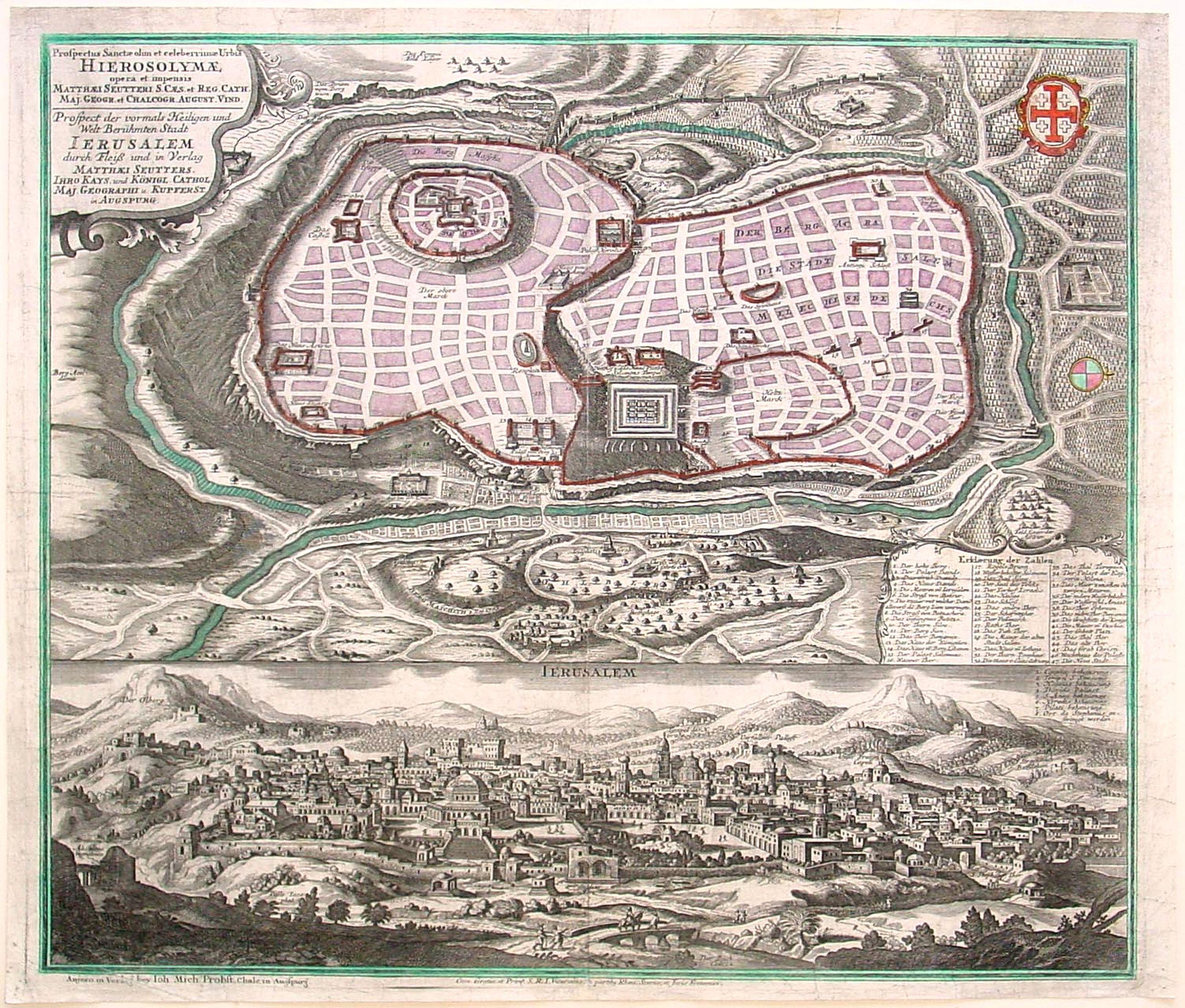 SEUTTER, M. / PROBST, M. -  Prospectus Sanctae olim.. Hierosolymae.. Jerusalem. . .