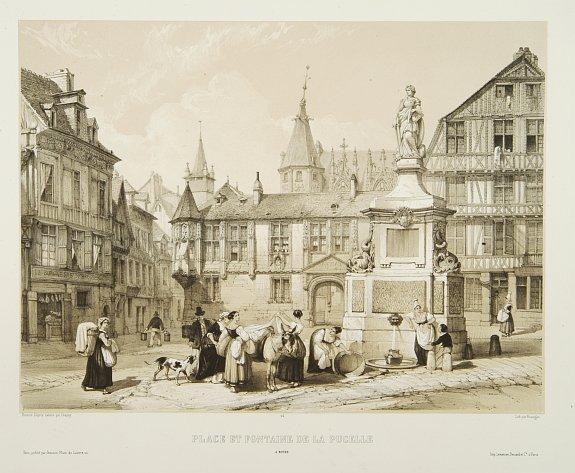 CHAPUY. -  Place et fontaine de la Pucelle à Rouen.