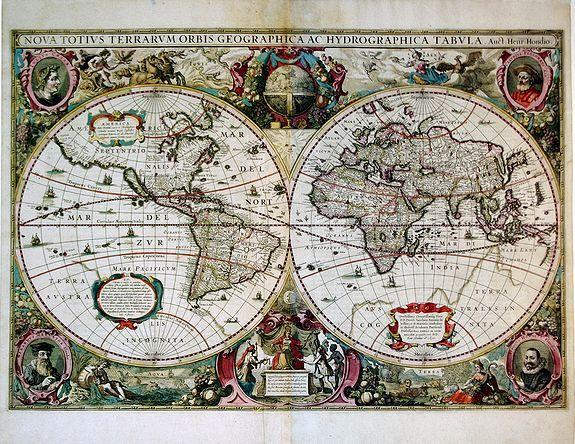 HONDIUS, H. - Nova Totius Terrarum Orbis Geographica Ac Hydrographica Tabula.