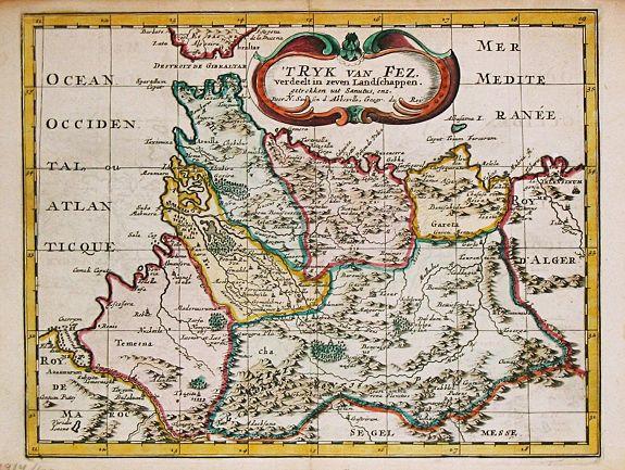 SANSON, N. - T Ryk van Fez verdeelt in zeven Landschappen