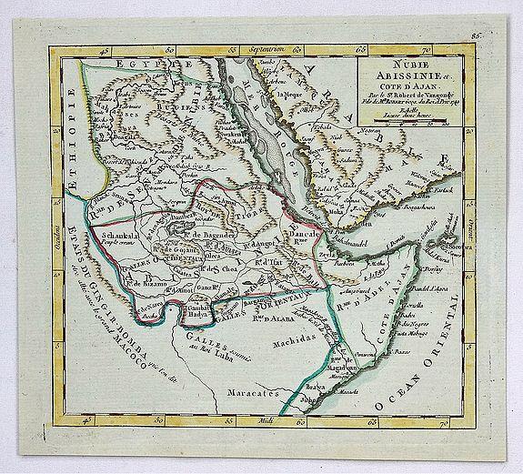 VAUGONDY,  G., - Nubie, Abissinie et Cote D'Ajan.