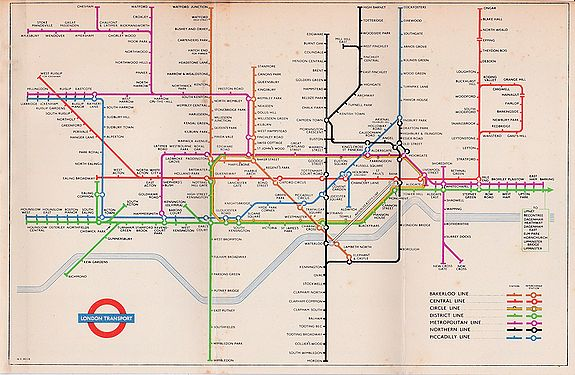 BECK, Harry., 1953 Harry Beck London Underground map. , antique map, old maps