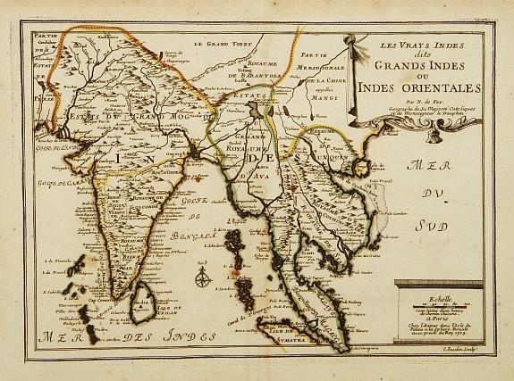 FER, N. de. -  Les Vrays Indes dits Grands Indes ou Indes Orientales Par N. de Fer. Geographe de Sa Majeste Catoliques et de Monseigneur le Dauphin.