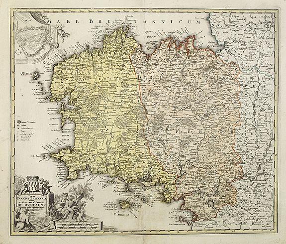 HOMANN, J.- B. -  Tabula Ducatus BRITANNIAE Gallis le Gouvernement DE BRETAGNE...