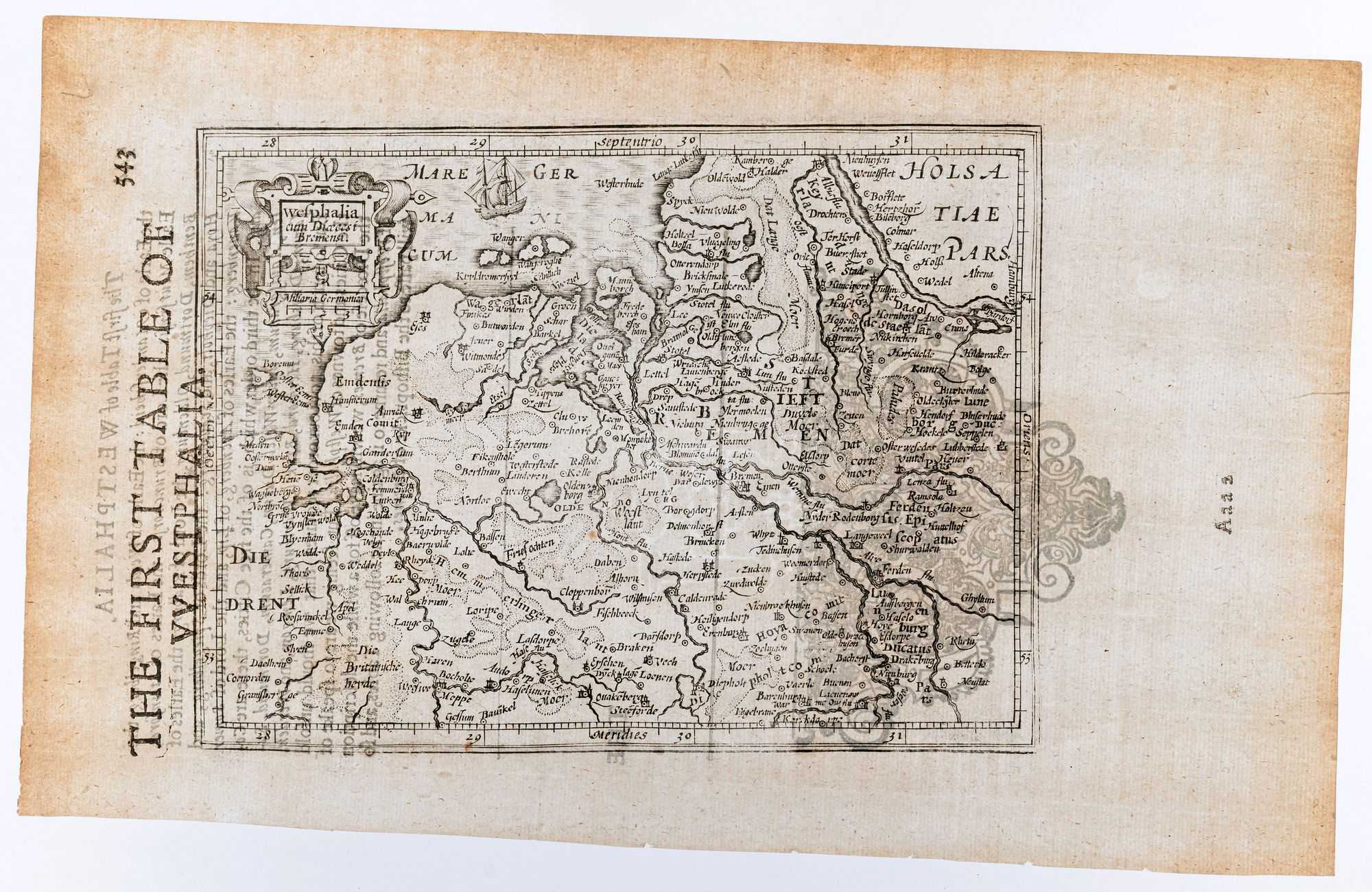 MERCATOR, Gerard & HONDIUS, Jodocus. -  Wesphalia cum Dioecesi Bremensi. / The First Table of Westphalia. [Germany]
