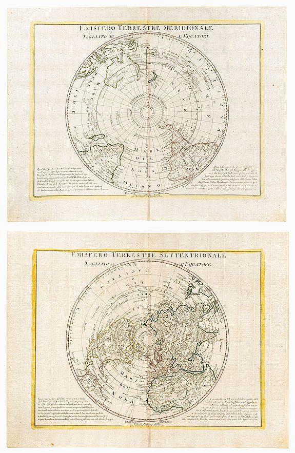 PITTERI, G [Drawn by] and ZULIANI, G [Engraver]. [ -  Emisfero Terrestre Meridionale Tagliato Sul L'Equatore. / Emisfero Terrestre Settentrionale Tagliato Sul L'Equatore.