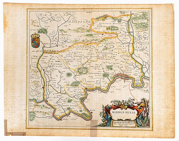 BLAEU, J.,  Middlesex. Middle-sexia., antique map, old maps