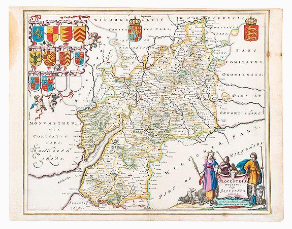 BLAEU, Joan. -  Gloucestershire. locestria Ducatus, Vulgo Glocestershire.
