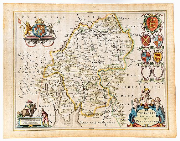 BLAEU, Joan,  Westmorland. Westmoria Comitatus; Anglice Westmorland., antique map, old maps
