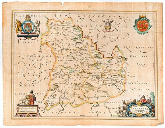 BLAEU, Joan. -  Comitatus Brechiniae, Breknoke.