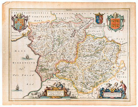 BLAEU, Joan. -  Montgomeria Comitatus et Comitatus Mervinia.