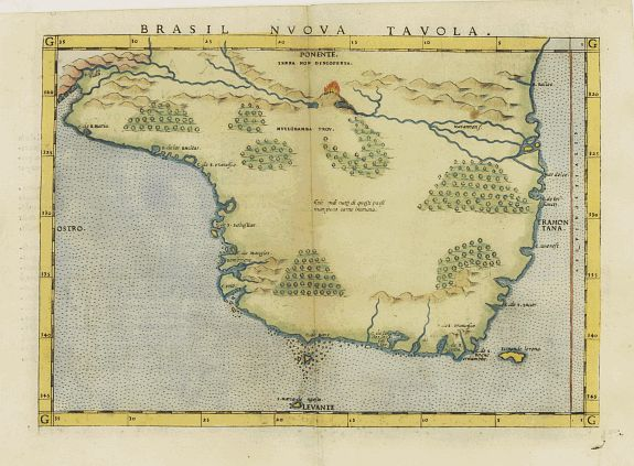 RUSCELLI, G.,  Brasil nuova tavola., antique map, old maps
