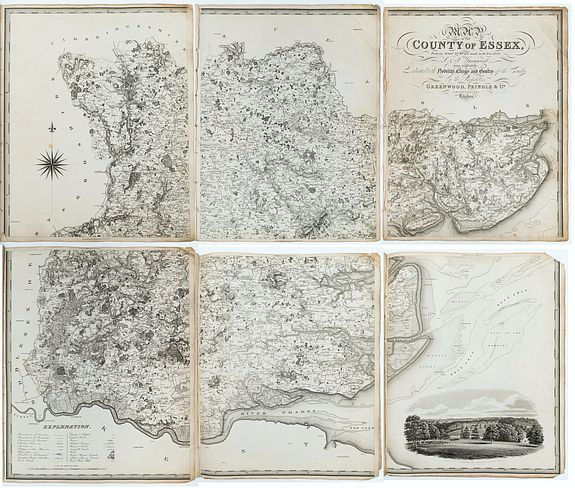 GREENWOOD, C. & J.,  Essex. Map of the County of Essex, from an actual survey made in the year 1824…, antique map, old maps
