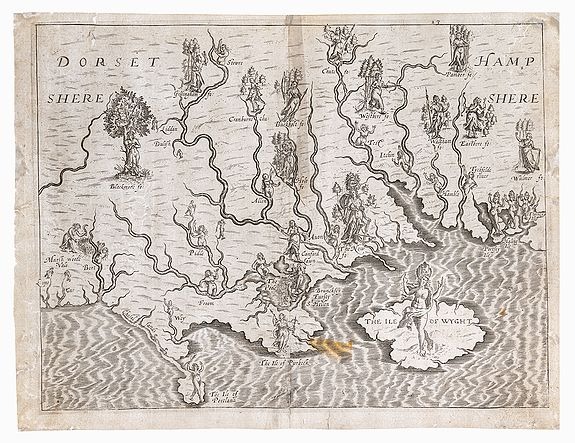 DRAYTON, Michael.,  Dorsetshere [with] Hampshere [and] The Ile of Wyght., antique map, old maps