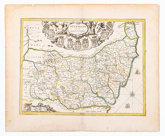 JANSSON, Johannes.,  Suffolk. Suffolcia vernacule Suffolke., antique map, old maps