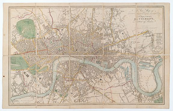 HUGHES, H. / COGHLAN, Francis -  A New Map of London, Westminster, Southwark, And Their Suburbs for Coghlan's Picture of London.