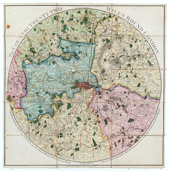 [WALLIS, John]. WOODMAN, T and MUTLOW, H [engr]. -  The Country Twenty-Two Miles Round London. Compiled from Actual Surveys, on a Scale of Half an Inch to a Mile.