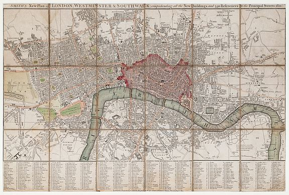 SMITH, C. -  Smith's New Plan of London, Westminster & Southwark; comprehending all the New Buildings, and 350 References to the Principal Streets.
