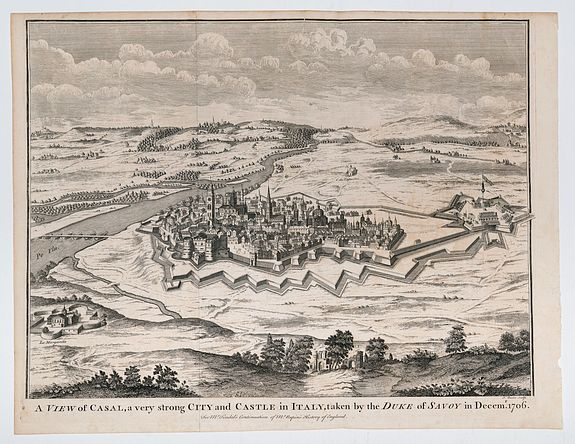BASIRE, I[saac]. (Engraver). -  A view of Casal, a very strong City and Castle in Italy, taken by the Duke of Savoy in Decemb. 1706.