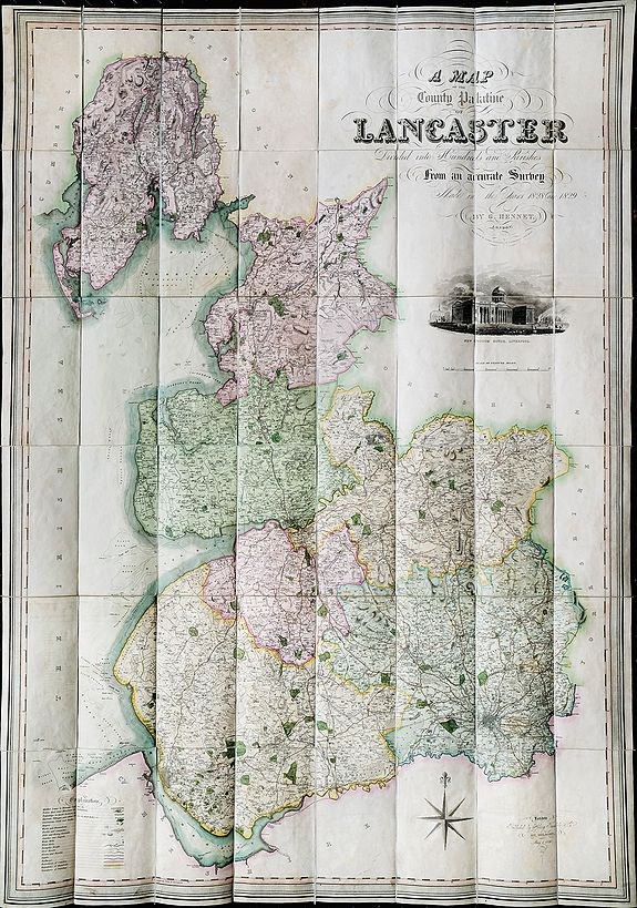HENNET, G. BINGLEY, James (engr).,  Lancashire. A Map of the County Palatine of Lancaster Divided into Hundreds and Parishes., antique map, old maps