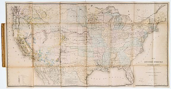 GORLINSKI, Joseph. -  Map of the United States and Territories. Showing the extent of Public Surveys and other details constructed from the Plats and official sources of the General Land Office, under the direction of the Hon. Jos. S. Wilson, commissioner.