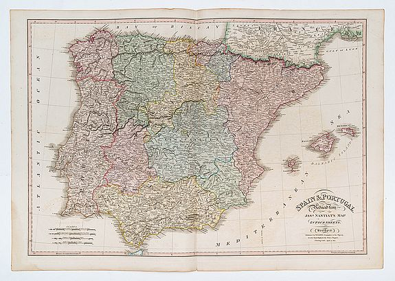 FADEN. W. / NANTIAT, J. -  Spain and Portugal. Reduced from Jas.r Nantiat's Map in Four Sheets.