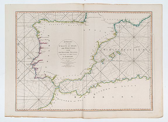 FADEN, W. /ROCHETTE, L.S. de la -  A Chart of the Coasts of Spain and Portugal, with the Balearic Islands, and Part of the Coast of Barbary.