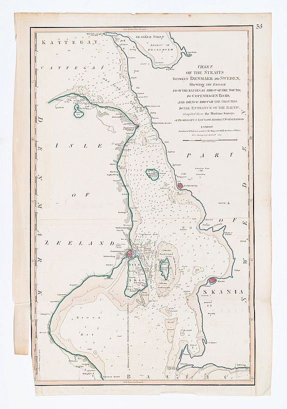 FADEN, W. / LOUS, C.C. & NORDENANKER, J. -  Chart of the Straits Betweem Denmark and Sweden Shewing the Passage from the Kattegat through the Sound, to Copenhagen Road; and thence through through the Grounds to the Entrance of the Baltic.