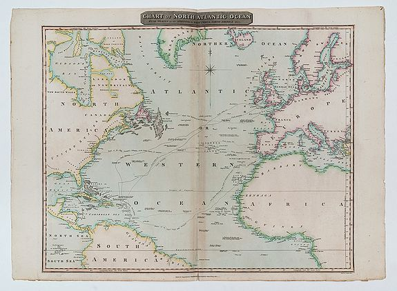 THOMSON, John.,  Chart of North Atlantic Ocean with Tracks of the Shipping to West Indies, North America &cc., antique map, old maps