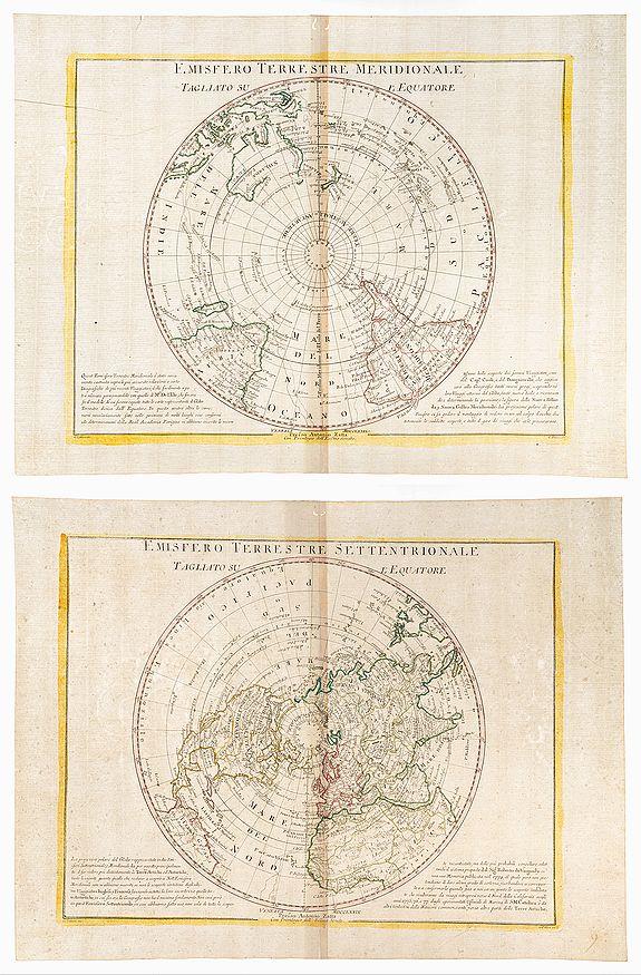 PITTERI, G [Drawn by] and ZULIANI, G [Engraver]. [ -  Emisfero Terrestre Meridionale Tagliato Sul L'Equatore. (together with) Emisfero Terrestre Settentrionale Tagliato Sul L'Equatore.