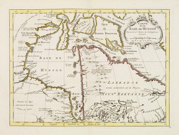 HARREVELT,E.van/ CHANGUION,D.J. -  Carte de la Baie de Hudson..