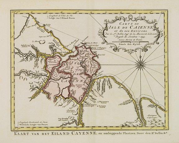 HARREVELT, E. van/ CHANGUION, D.J. -  Carte de L'Isle de Caiene et de ses environs.