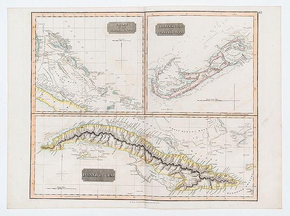 THOMSON, John.,  [West Indies] Chart of the Bahama Islands [with] the Bermudas or Summer Islands [with] The Island of Cuba., antique map, old maps