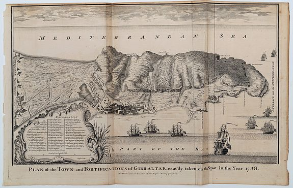 BASIRE, I[saac]. (Engraver).,  Plan of the Town and Fortifications of Gibraltar, exactly taken on the spot in the Year 1738., antique map, old maps