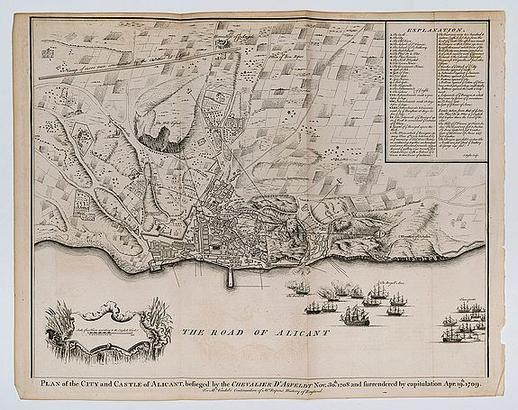BASIRE, I[saac]. (Engraver). -  Plan of the City and Castle of Alicant, besieged by the Chevalier D'Asfeldt Nov. 30th. 1708 and surrendered by capitulation Apr. 19th. 1709.