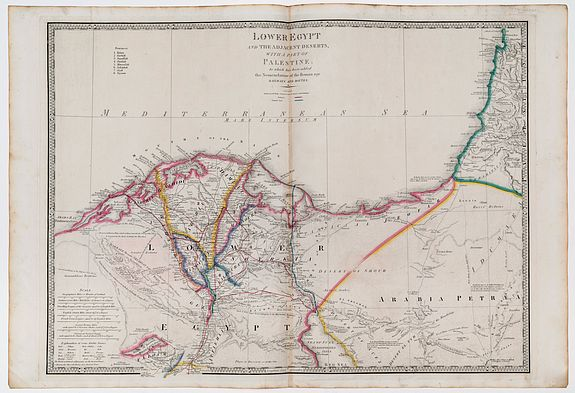WYLD, James. -  Lower Egypt and the adjacent deserts with a chart of Palestine to which has been added the Nomenclature of the Roman age Railways and Routes.