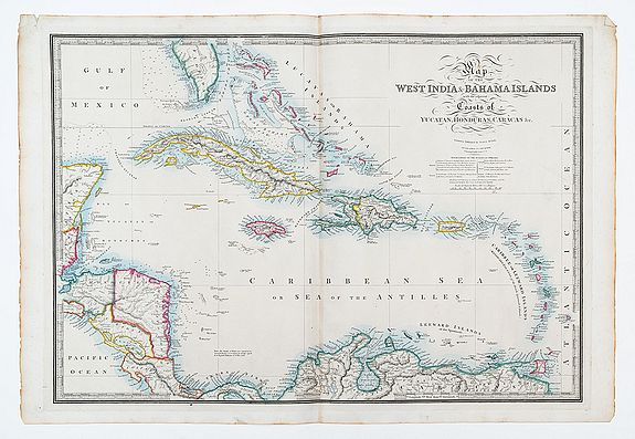 WYLD, James,  Map of the West India & Bahama Islands with the adajcent coats of Yucatyan, Honduras, Caracas & c., antique map, old maps