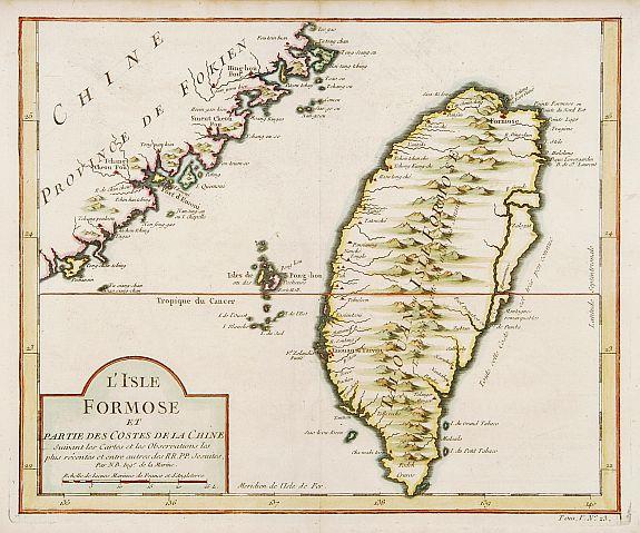 BELLIN, J.N. -  L'Isle Formose et parties des Costes de la Chine..