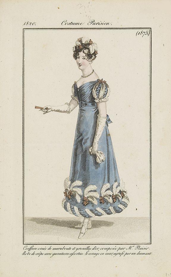 COSTUME PARISIEN -  Coiffure ornee de marabouts. . . (1875)