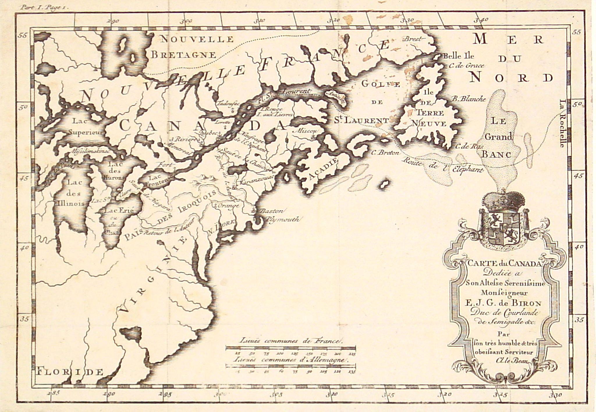 LE BEAU, C. -  Carte du Canada Dediée a Son Altesse. . .